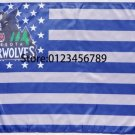 Minnesota Timberwolves logo with US stars and stripes Flag 3FTx5FT