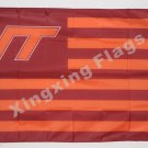 Virginia Tech Hokies With Modified US Flag 3ft x 5ft Polyester NCAA Banner