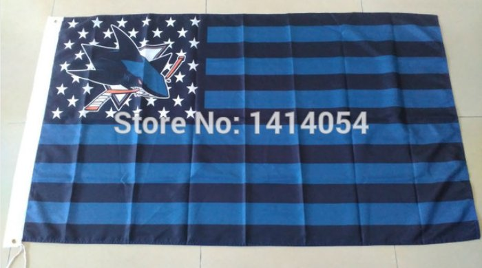 san jose sharks logo star and stripes Flag with stripes and logo 3ft x 5ft Polyester fans flags