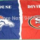 Denver Broncos vs San Francisco 49ers House Divided Rivalry Flag 90x150cm