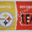 Pittsburgh Steelers vs Cincinnati Bengals House Divided Rivalry Flag 90x150cm
