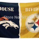 Denver Broncos vs Pittsburgh Steelers Cowboys Divided Rivalry Flag 90x150cm
