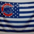 Chicago CUB with Stars and Stripes flag white background 3FTx5FT Banner 100D Polyester Flag