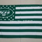 New York Jets logo with US stars and stripes Flag 3FTx5FT Banner 100D Polyester flag 90x150cm