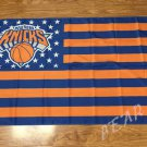 New York Knicks logo with US stars and stripes Flag 3FTx5FT Banner 100D Polyester flag 90x150cm