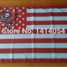 Tampa Bay Buccaneers logo with US stars and White stripes Flag 3FTx5FT Banner
