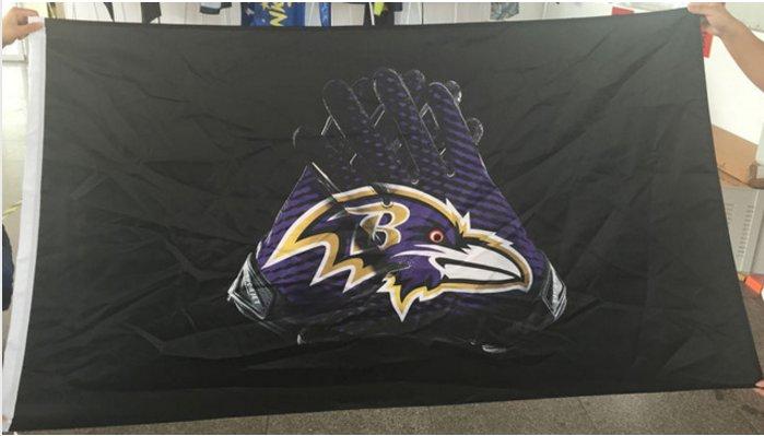 Baltimore Ravens Flag 3x5 FT Banner Gloves Logo 90x150cm 2 metal grommets