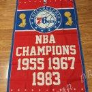 Philadelphia 76ers World Champions Flag 3ft x 5ft Polyester NBA Vertical Flag