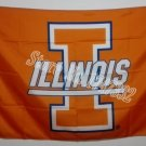 Illinois Fighting Illini Helmet Flag 3ftx5ft Banner 100D Polyester NCAA Flag style 1