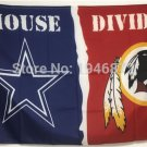 Cowboys vsWashington Redskins House Divided Rivalry Flag 90x150cm metal grommets