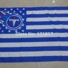 Tennessee Titans logo with US stars and stripes Flag 3FTx5FT Banner 100D Polyester flag 90x150cm