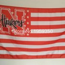 Nebraska Cornhuskers with stars and stripes flag 3ftx5ft Banner 100D Polyester Flag