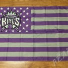 Sacramento Kings logo with US stars and stripes Flag 3FTx5FT Banner 100D Polyester flag 90x150cm