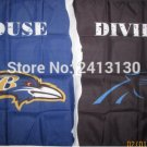 Baltimore Ravens vs Carolina Panthers House Divided Rivalry Flag 90x150cm metal grommets