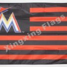 Miami Marlins US stripes Banner Flag 3' x 5' Fan Flag Banner metal holes Flag 90x150cm