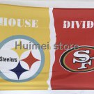 Pittsburgh Steelers vs San Francisco 49ers House Divided Rivalry Flag 90x150cm metal grommets