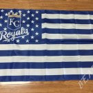 Kansas City Royals Flag 3ft x 5ft Polyester MLB Banner Flying with stars and stripes 90x150cm