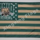 Ohio Bobcats Nation Flag 3ft x 5ft Polyester NCAA banner white sleeve with 2 metal Grommets 90x150cm