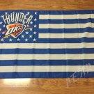 Oklahoma City Thunder logo with US stars and stripes Flag 3FTx5FT Banner