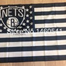 Brooklyn Nets logo with US stars and stripes Flag 3FTx5FT Banner 100D Polyester flag 90x150cm