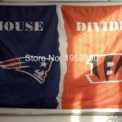 New England Patriots vs Cincinnati Bengals House Divided Rivalry Flag 3x5 ft