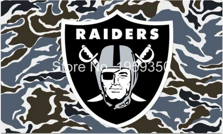 Oakland Raiders Logo Flag with camos 3FTx5FT 100D Polyester 90x150cm