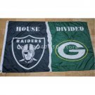 Oakland Raiders flag vs Green Bay Packers flag House Divided Rivalry Flag 90x150cm