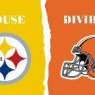 Pittsburgh Steelers vs Cleveland Browns House Divided Rivalry Flag 90x150cm