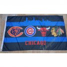 Chicago Bears Chicago cubs Chicago Bulls Chicago Blackhawks Flag 3X5FT