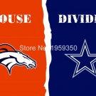 Denver Broncos vs Houston Dallas Cowboys Divided Rivalry Flag 90x150cm