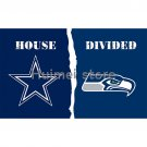 Dallas Cowboys VS Seattle Seahawks House Divided Team Outdoor Indoor Flag 3X5 ft