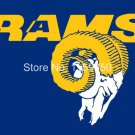 Los Angeles Rams logo with head flag 3FTx5FT Banner 100D Polyester 90x150cm