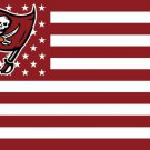 Tampa Bay Buccaneers logo with US stars and White stripes Flag 3FTx5FT