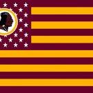 Washington Redskins logo with US stars and stripes Flag 3FTx5FT Banner