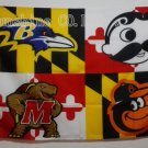 Baltimore Ravens Baltimore Orioles Natty Boh Maryland Terrapins Flag 3X5FT