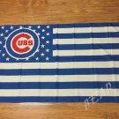 Chicago CUBs stars and stripe flag 3ftx5ft Banner 100D Polyester Flag 2 metal Grommets 90x150cm