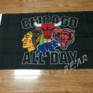 Chicago Blackhawks Chicago Cubs Chicago Bulls NBA mixed polyester banner  90x150cm