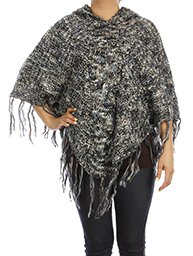 Poncho with Sequins and Hood