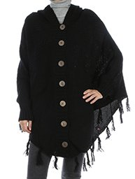 Poncho Button Down in Black w/Hood
