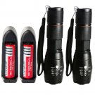 2PC 2000LM LED Flashlight Tactical Cree T6 Torch Rechargeable + Battery+Charger