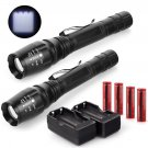 2 Set 4000LM Tactical Flashlight Cree XML T6 LED Rechargeable Torch +Battery+Charger