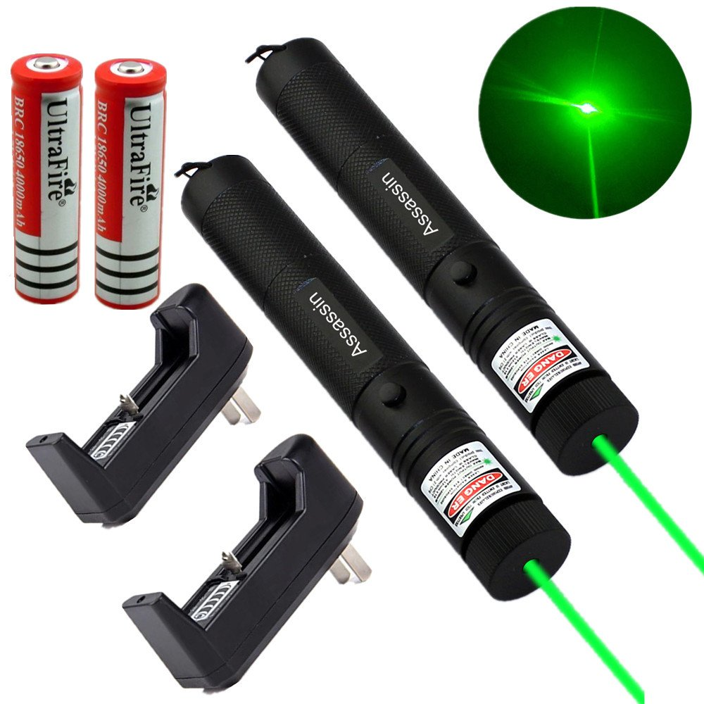 2PC Assassin 5mw 532nm Green Laser Pointer Pen Powerful Military+Battery+Charger