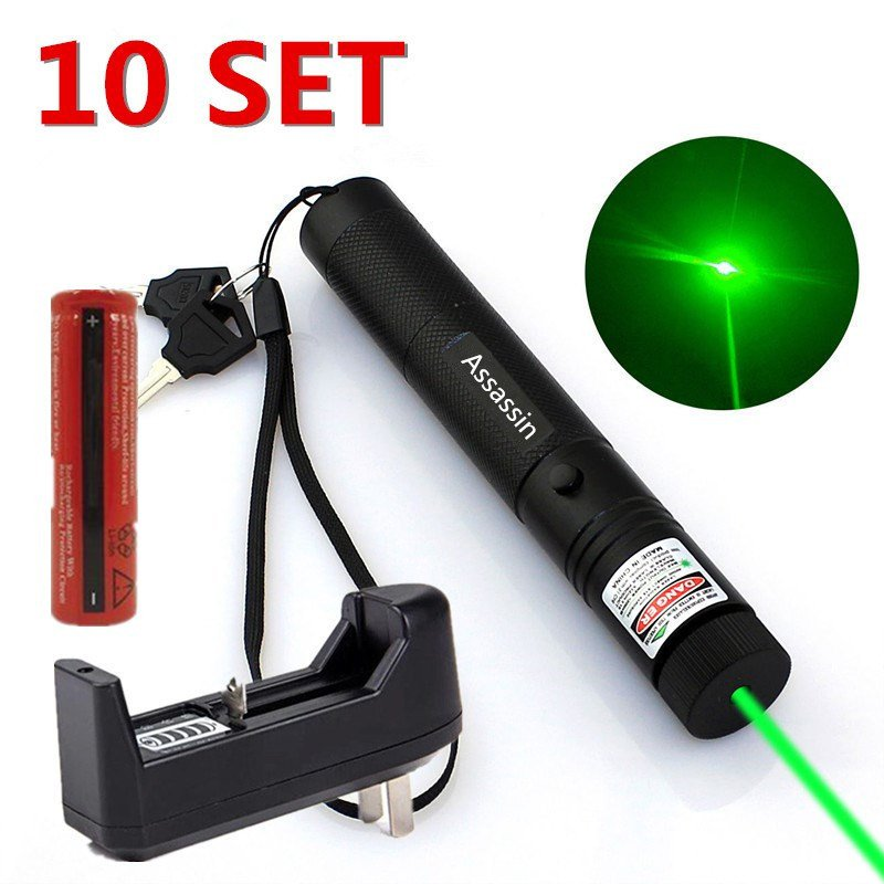 10 Set Powerful Military 5mw 532nm Green Laser Pointer Pen+ Battery + Charger