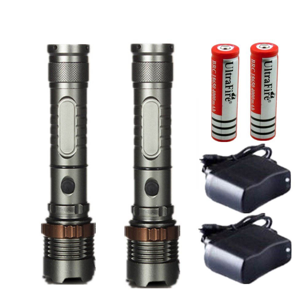 2PC 3000LM Rechargeable Cree XML T6 LED Flashlight Tactical + Battery + Charger