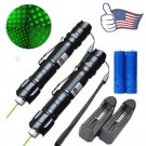 Xmas Gifts 2PC 009 Green Laser Pointer Pen 5mw 532nm Belt Clip +Battery+Charger