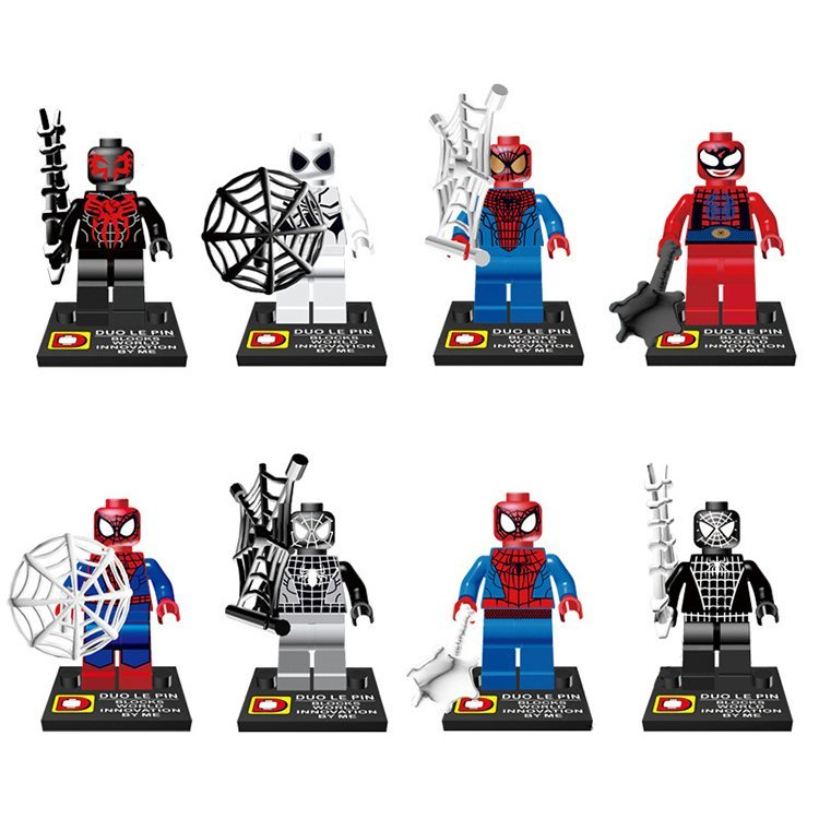 Marvel Hero Spiderman Peter Parker Venom Minifigure Lego Spiderman Movie Compatible