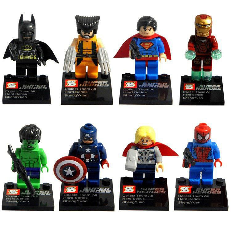 Super Hero Avenger Hulk Spiderman Ironman Minifigure Lego Compatible Minifigures