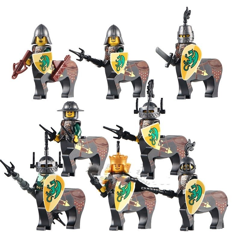 Medieval Castle Knight Minifigure Lego Knights Compatible Green Dragon Knight