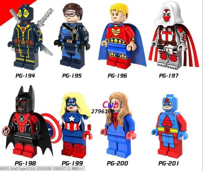 Deadpool Cyclops Hyperion Batman Female captain America Lego Red Light Compatible