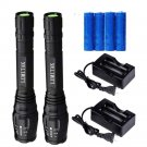 2PC 4000LM T6 LED Flashlight Cree XML Rechargeable Tactical LUMITAK+Batt+Charger